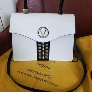 Valentino White Studded Leather Satchel/Crossbody